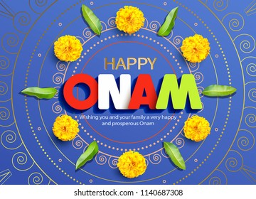 Happy Onam background with traditional floral ornament (pookolam, rangoli) for South India harvest festival. Vector illustration.