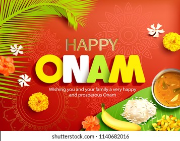 Happy Onam background with traditional food (sadya) served on banana leaf for South India harvest festival. Vector illustration.