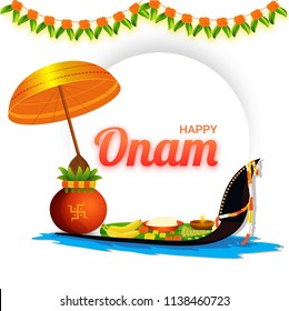 Happy Onam banner or poster design with worship pot, traditional umbrella, flowers, religious offerings, banana leaf with snake boat on white background decorated with flower garland (toran).