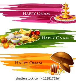 Happy Onam celebration background for traditional festival of Kerala. Vector illustration