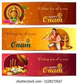 Happy Onam celebration background for traditional festival of Kerala. Vector illustration