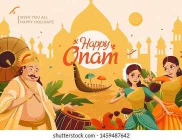 Happy Onam celebration with Mahabali king and dancers on chrome yellow architecture silhouette background