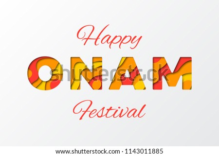 happy onam festival banner design layout with paper cut colorful layered text vector illustration for