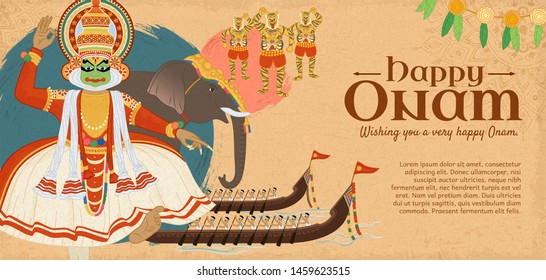 Happy Onam festival with dancer and snake race boat activities