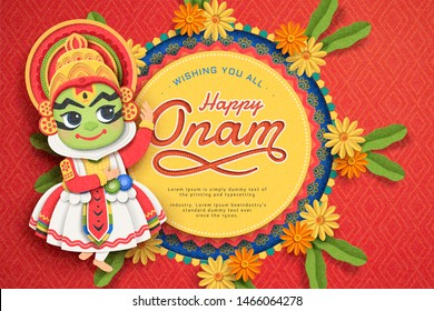 Happy Onam festival design with cute Kathakali dancer and marigold decorations in paper art