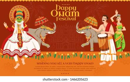 Happy Onam festival design with kathakali dancer and elephant procession on dark orange background