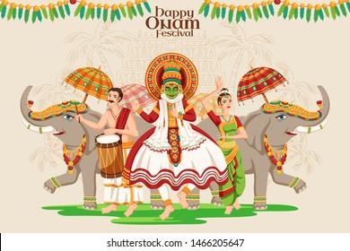 Happy Onam festival design with kathakali dancer and elephant procession on beige background