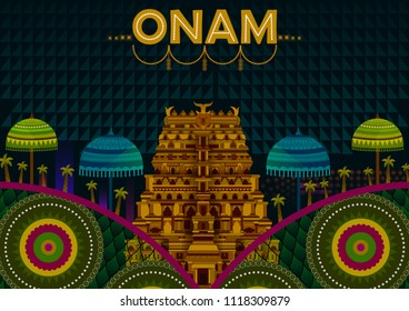Happy Onam festival greetings to mark the annual Hindu festival of Kerala, India in vector