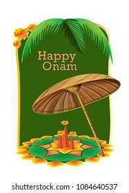 happy onam festival india vector illustration