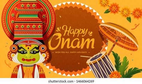 Happy Onam festival with Kathakali dancer and chenda elements