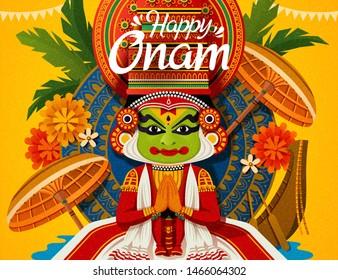 Happy Onam festival with Kathakali dancer and snake boat elements