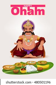 Happy Onam festival in Kerala. God King Mahabali. Template greeting card vector illustration