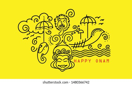 happy onam festival of kerala line drawing