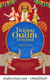 Happy Onam festival poster with kathakali dancer and elephant procession on burgundy red background