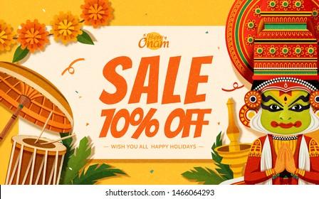 Happy Onam festival sale with Kathakali dancer and chenda elements