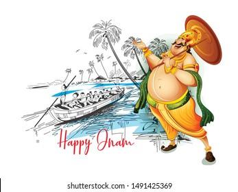 Happy Onam festival of South India Kerala Boat race,Mahabali