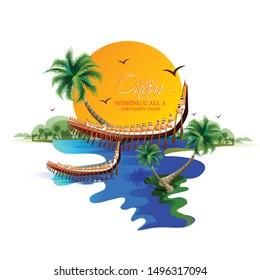 Happy Onam festival of South India Kerala  Kathakali Boat race