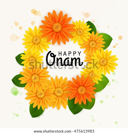 Happy onam flower greetings south indian stock vector royalty free happy onam flower greetings for south indian festival onam vector illustration m4hsunfo