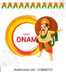 Happy Onam greeting card design with illustration of King Mahabali holding traditional umbrella and flower garland decorated (toran) on floral abstract background.