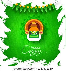 Atham images stock photos vectors shutterstock happy onam greeting card design with illustration of kathakali dancer face on abstract green background for m4hsunfo