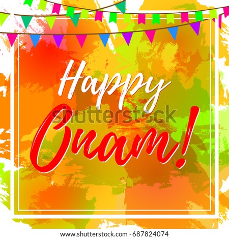 Happy onam greeting card indian festival stock vector royalty free happy onam greeting card for indian festival vector illustration with inscription on grungy colourful m4hsunfo