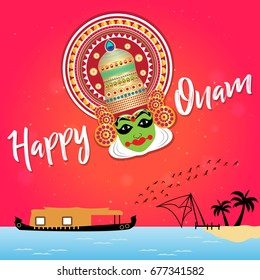 Onam wishes images stock photos vectors shutterstock happy onam greetings vector illustration for south indian festival in kerala india creative concept m4hsunfo