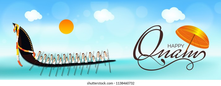 Happy Onam header or banner design with traditional umbrella and illustration of South Indian people participating in snake boat racing at riveron nature view background.