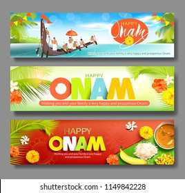 Happy Onam horizontal banners for South India harvest festival. Vector set.