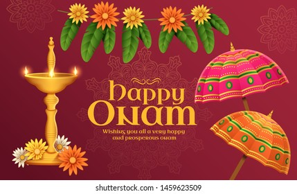 Happy Onam illustration with umbrella and marigold flowers