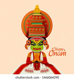 Happy Onam Kathakali dancer in traditional costume
