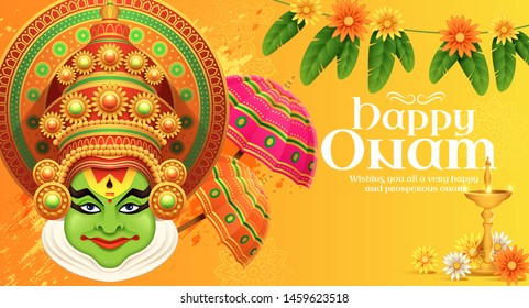 Happy Onam Kathakali illustration with marigold and umbrella elements