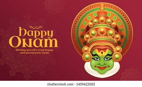 Happy Onam Kathakali illustration on burgundy red background