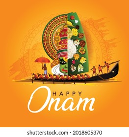 happy onam with kathakali and Kerala boat race, use for poster, leaflet , banner