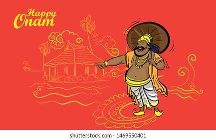happy onam kerala festival mahabhali line drawing
