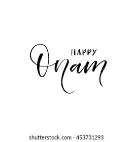 Happy Onam lettering background. Elements for your design of holiday. Ink illustration. Modern brush calligraphy. Isolated on white background.