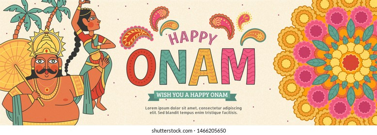 Happy Onam lovely banner with Mahabali king and beautiful dancer