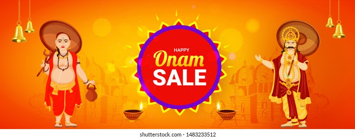 Happy Onam Sale header or banner design, illustration of King Mahabali with Vamana Avatar on orange Temple background decorated with worship bell and oil lamp (Diya).