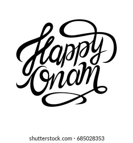 Happy Onam typography or lettering. Vector illustration for card, banner or invitation.