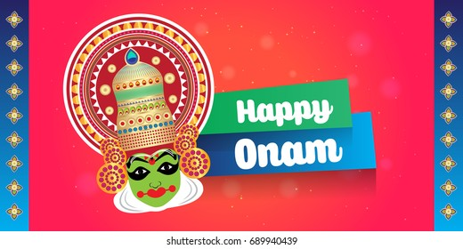 Happy Onam vector illustration for south indian festival in kerala. Kathakali, house boat and traditional elements. Translation: Happy Onam