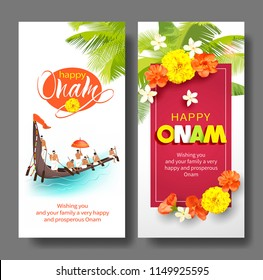 Happy Onam vertical banners for South India harvest festival. Vector set.