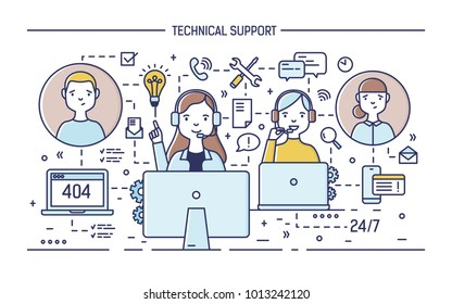 Happy online consultants wearing headphones with microphones sitting at computers and answering questions asked by clients. 24 hour technical support service. Vector illustration in line art style.