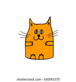 Happy orange cat. Vector illustration.