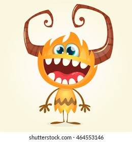 Happy orange monster. Vector Halloween horned character smiling isolated