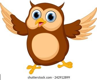 Happy owl cartoon