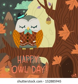 """Happy Owl Day"" greeting card. Vector postcard with cute tiny owl on the tree with mountains background."