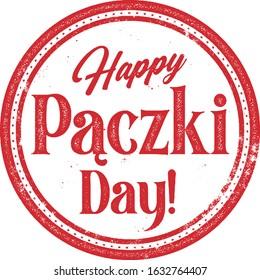 Happy Paczki Pastry Day Vintage Rubber Stamp