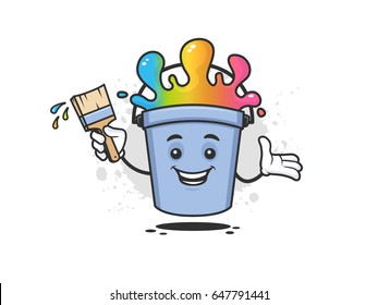 Happy paint bucket mascot cartoon character with rainbow colored paint holding paintbrush with splatter on the wall vector illustration