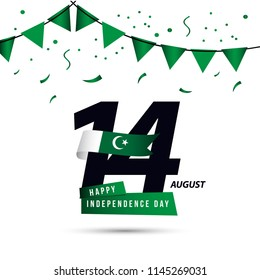 Happy Pakistan Independent Day Vector Template Design Illustration