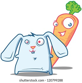 Happy pals - mr.Carrot and a little crazy Rabbit