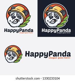 Happy Panda Cartoon Logo